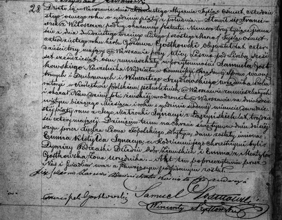 Akt urodzenia Emmy Klotyldy Ignacyi Gostkowskiej 09.01.1848 r.