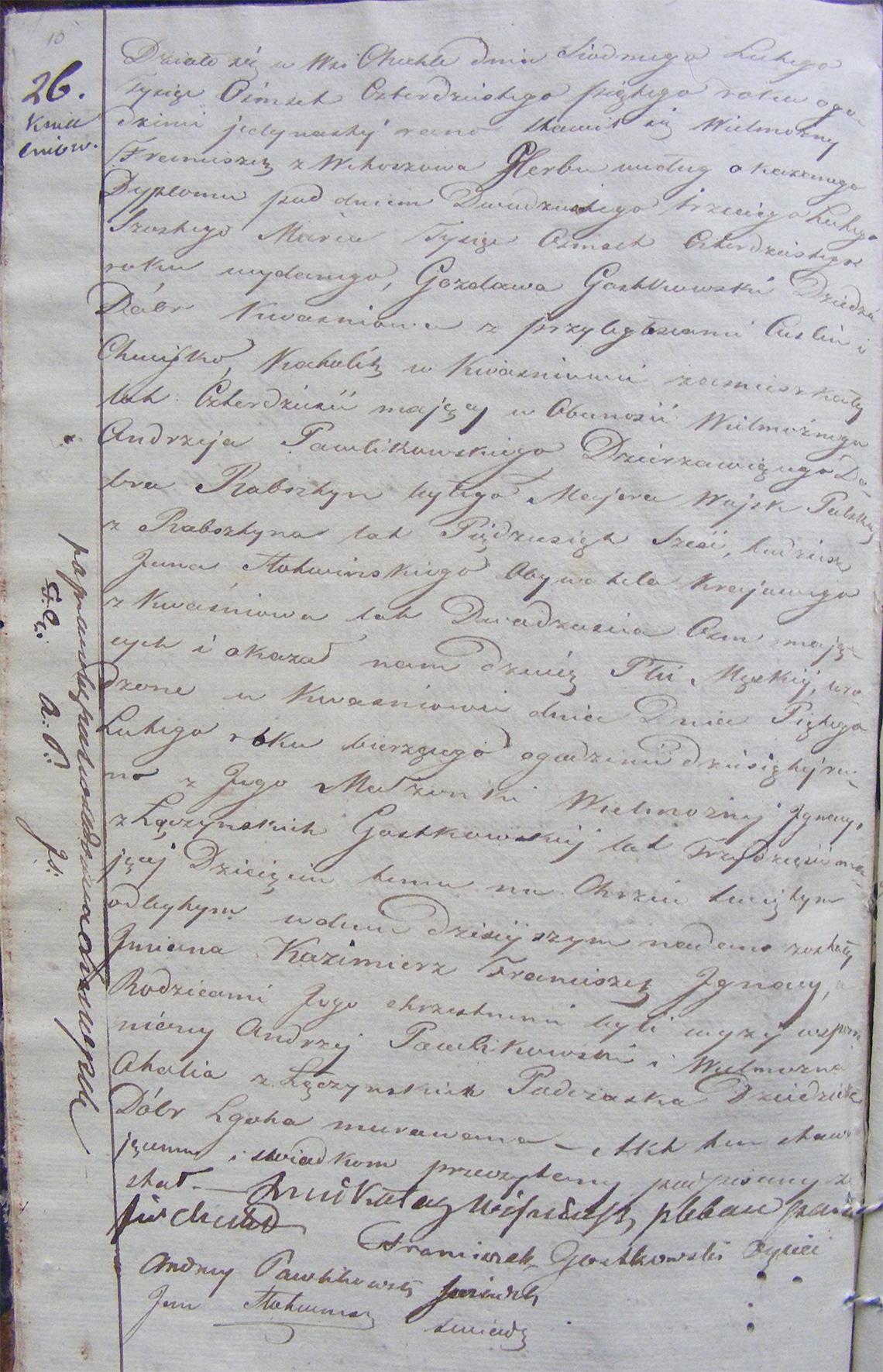 Akt urodzenia Kazimierza Franciszeka Ignacego Gostkowskiego 05.02.1845 r.