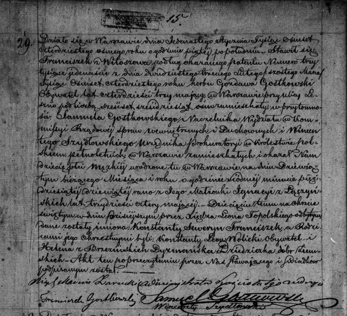 Akt urodzenia Konstantego Seweryna Franciszka Gostkowskiego 09.01.1848 r.