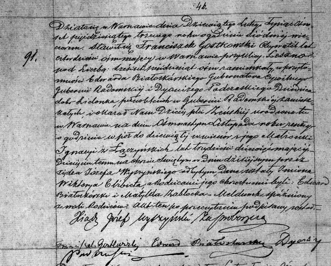 Akt urodzenia Wiktoryi Elżbiety Gostkowskiej 18.11.1852 r.