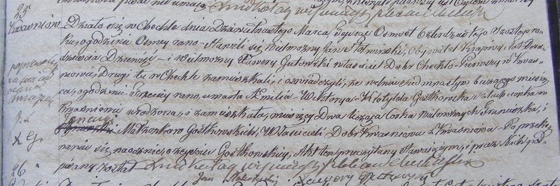 Akt zgonu Amelii Wiktoryi Klotyldy Gostkowskiej 17.03.1846 r.