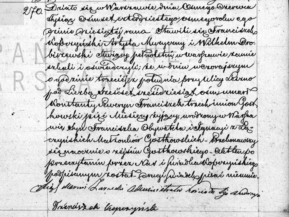 Akt zgonu Konstantego Seweryna Franciszka Gostkowskiego 07.06.1848 r.