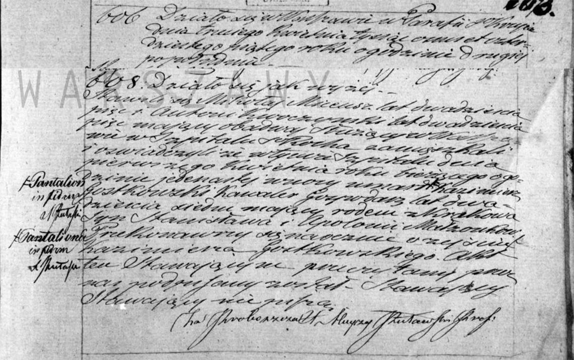 Akt zgonu Pantaliona Kazimierza Gostkowskiego 01.04.1845 r.
