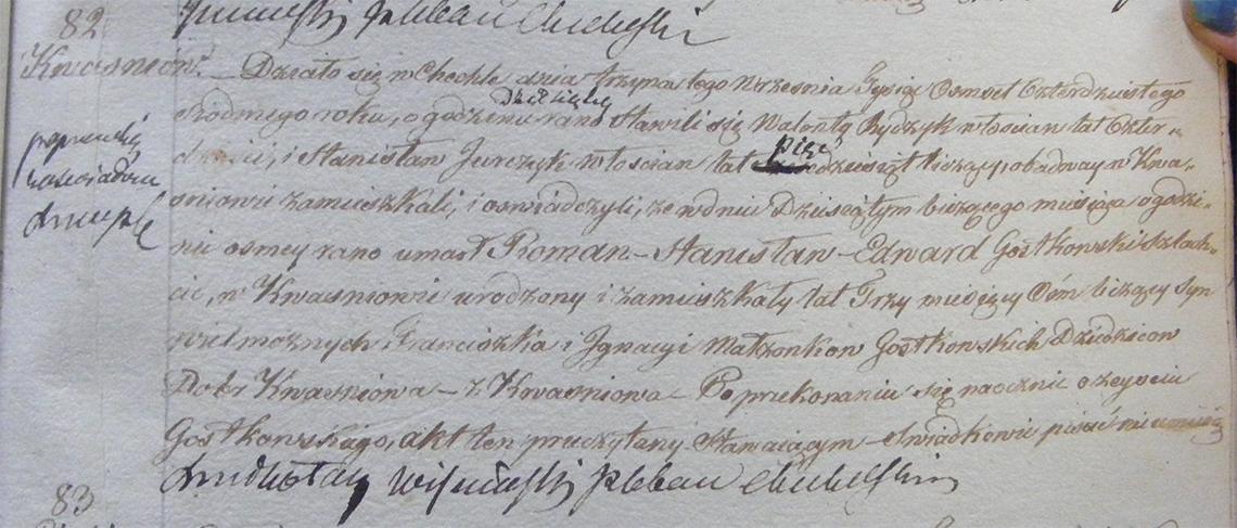 Akt zgonu Romana Stanisława Edwarda Gostkowskiego 10.09.1847 r.