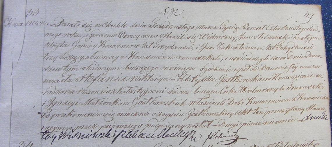 Akt zgonu Stefanii Wiktoryi Klotyldy Gostkowskiej 27.03.1847 r.