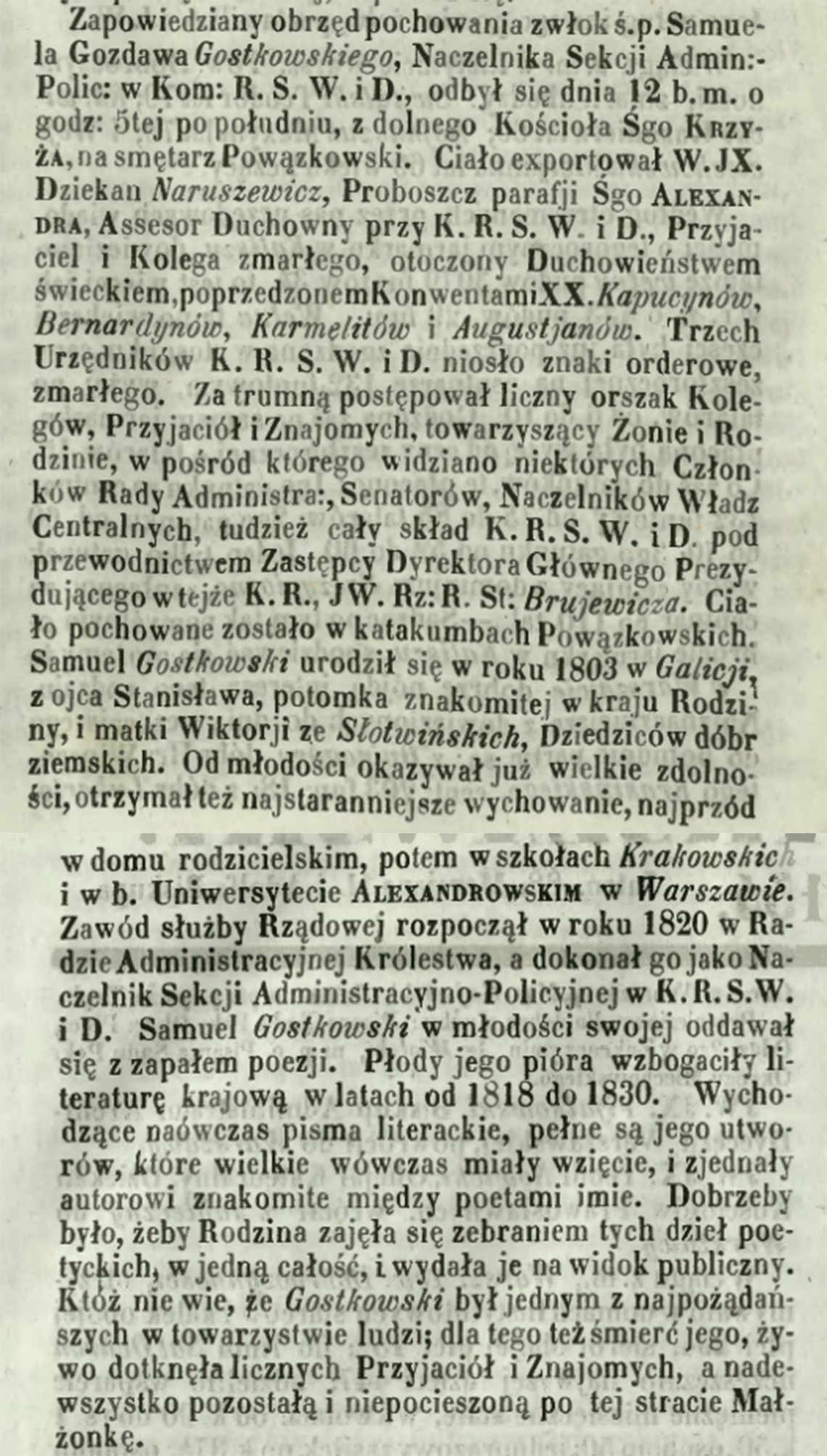 Nekrolog po śmierci i pogrzebie Samuela Gostkowskiego 12.06.1850 r.