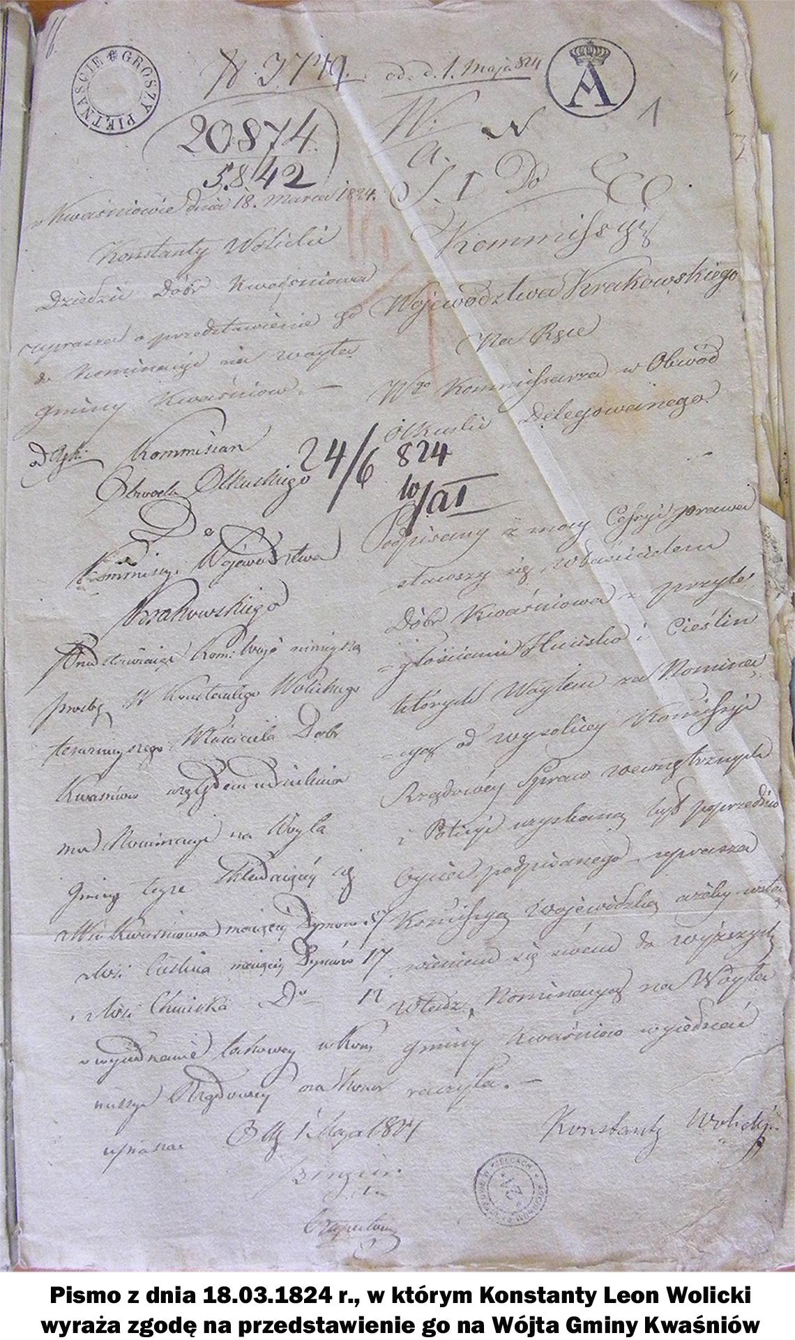 Pismo z dnia 18.03.1824 r., w którym Konstanty Leon Wolicki wyraża zgodę na przedstawienie go na Wójta Gminy Kwaśniów.
