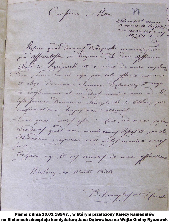 Pismo z dnia 30.03.1854 r. , w którym przełożony Księży Kamedułów na Bielanach akceptuje kandydaturę Jana Dąbrowicza na Wójta Gminy Ryczówek.