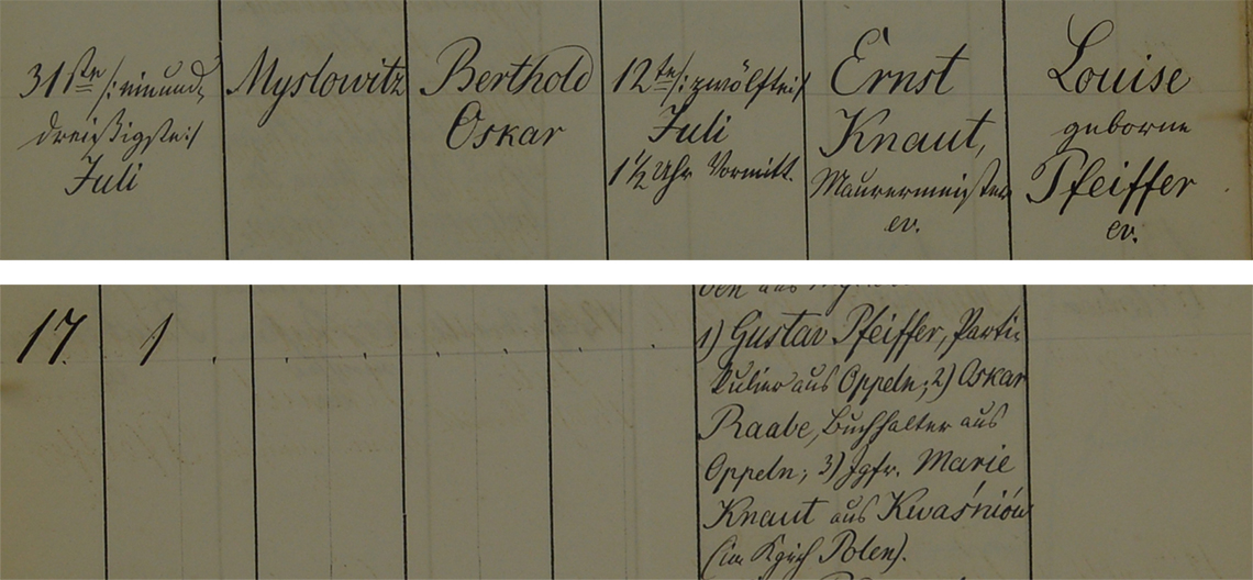Akt metrykalny chrztu Berthold Oskar Knaut ur. 12.07.1859 r.