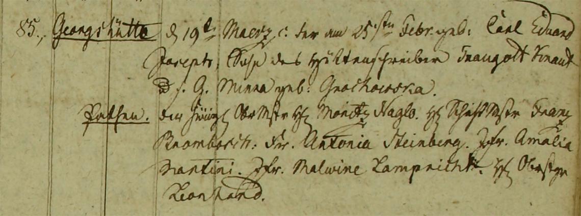 Akt metrykalny chrztu Carl Eduard Joseph Knaut ur. 25.02.1829 r.