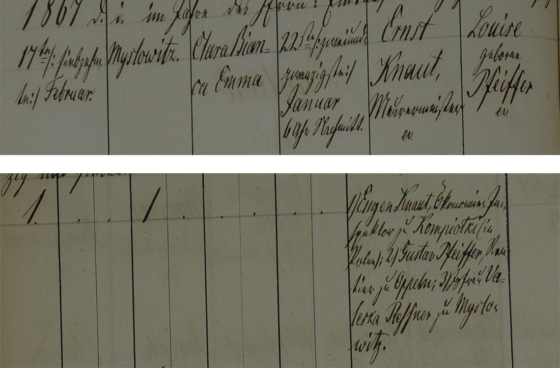 Akt metrykalny chrztu Clara Bianca Emma Knaut ur. 22.01.1867 r.