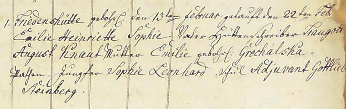 Akt metrykalny chrztu Emilie Heinriette Sophie Knaut ur. 13.02.1824 r.