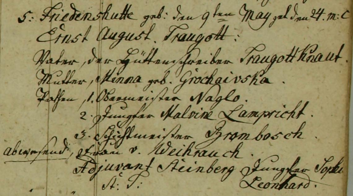 Akt metrykalny chrztu Ernst August Traugott Knaut ur. 09.05.1825 r.
