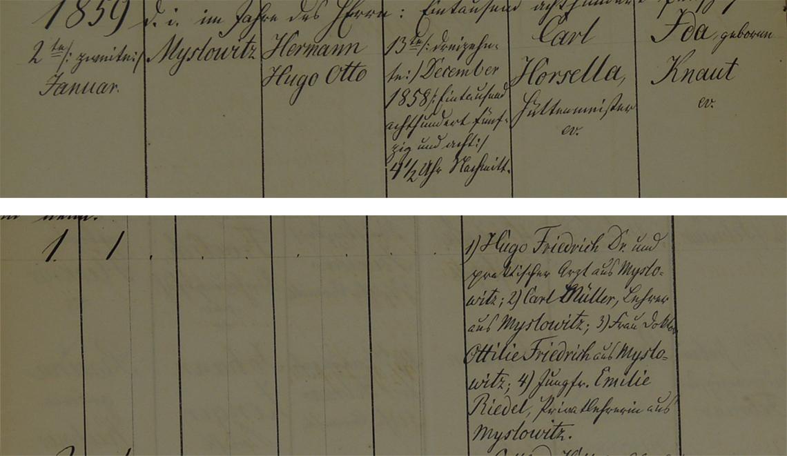 Akt metrykalny chrztu Hermann Hugo Otto Horsella ur. 13.12.1858 r.