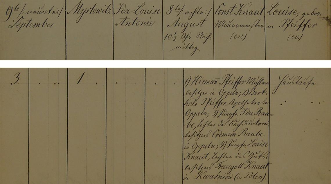 Akt metrykalny chrztu Ida Louise Antonie Knaut ur. 08.08.1857 r.