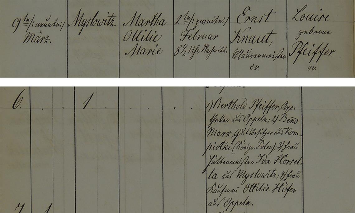 Akt metrykalny chrztu Martha Ottilie Marie Knaut ur. 02.02.1862 r.