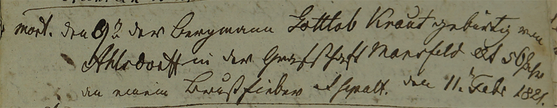 Akt metrykalny zgonu Gottlob Knaut 09.02.1821 r.