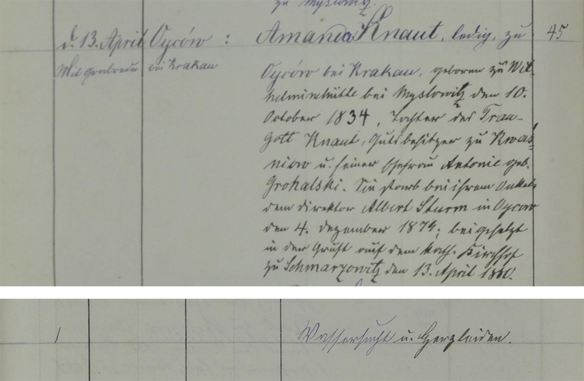 Akt metrykalny zgonu (mowa pogrzebowa)Amanda Knaut 04.12.1879 r.