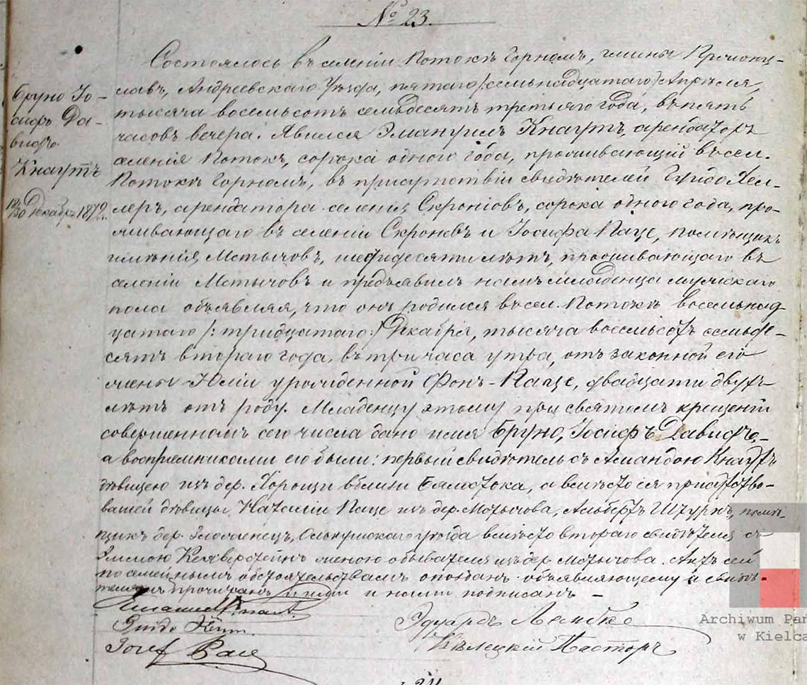 Akt stanu cywilnego urodzenia Bruno Józef Dawid Knaut 18/30.12.1872 r.