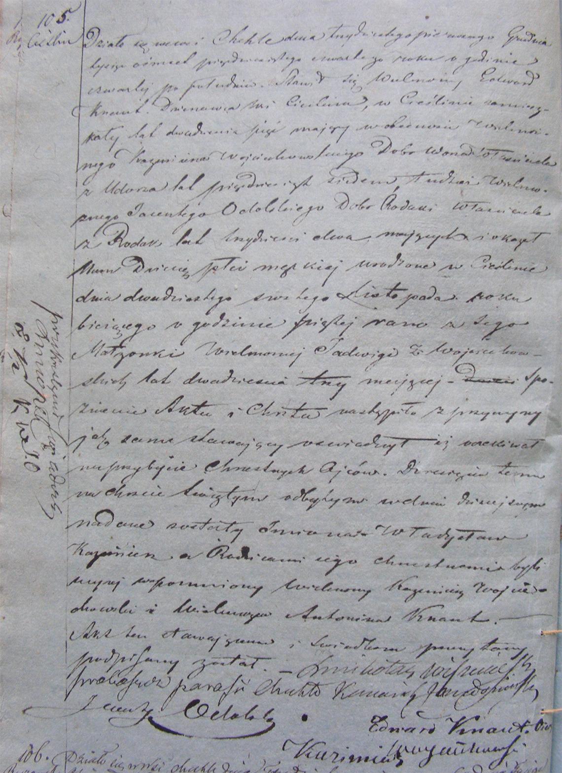 Akt stanu cywilnego urodzenia Władysław Kazimierz Knaut 26.11.1854 r.
