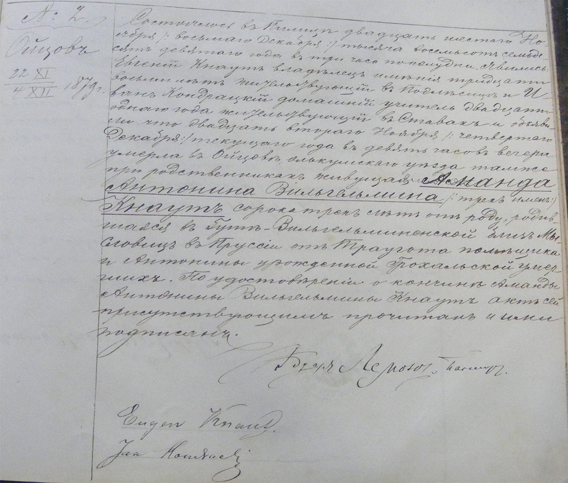 Akt stanu cywilnego zgonu Amanda Antonina Wilhelmina Knaut 22.11/04.12.1879 r. (Pilica)