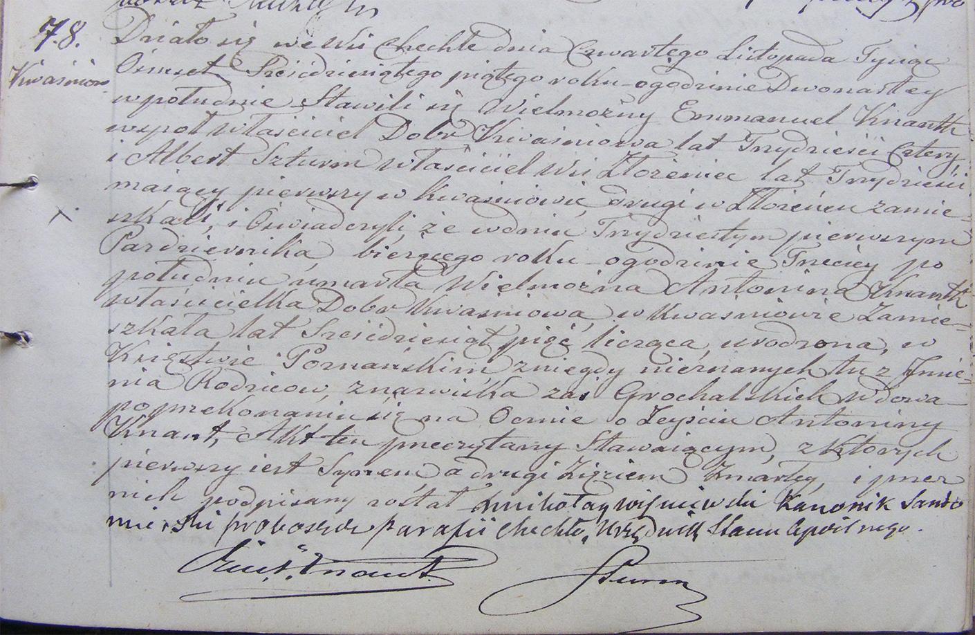 Akt stanu cywilnego zgonu Antonina Knaut 31.10.1865 r.