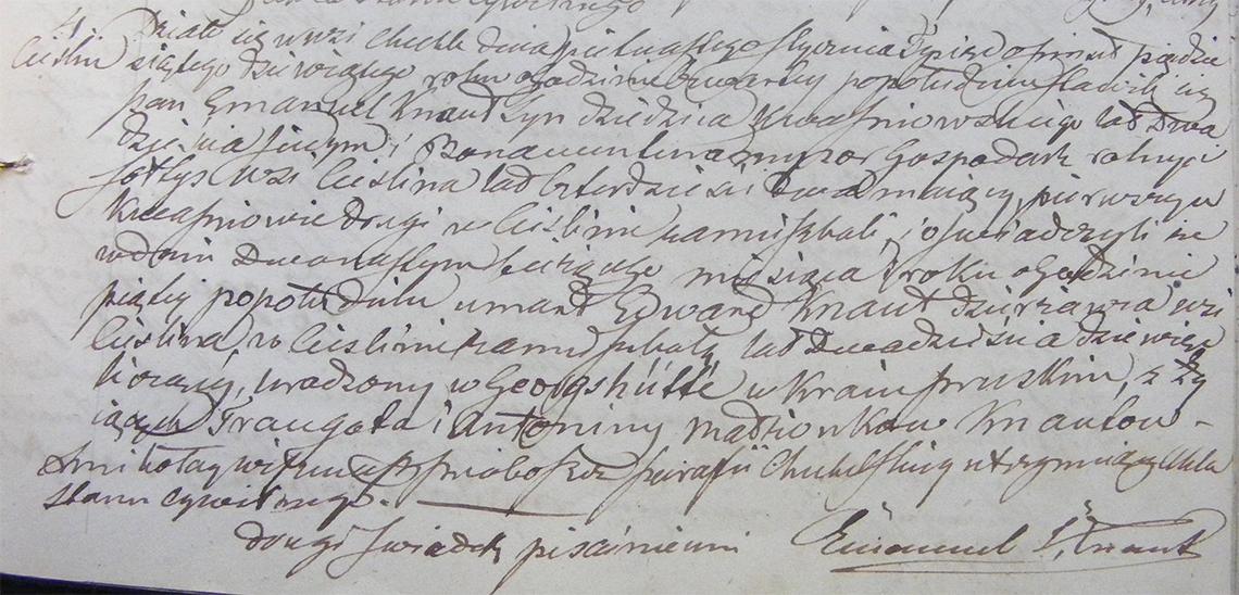 Akt stanu cywilnego zgonu Edward Knaut 12.01.1859 r. (Chechło)
