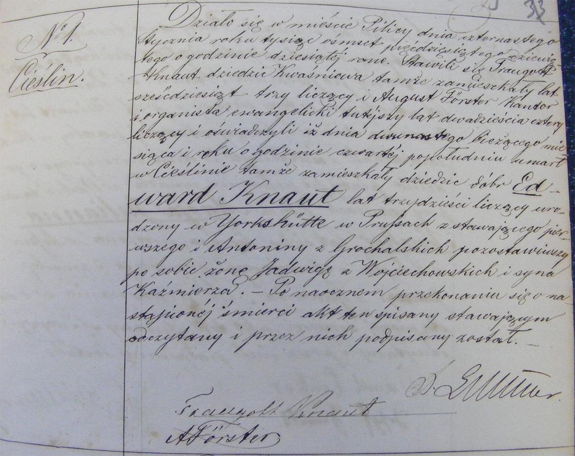 Akt stanu cywilnego zgonu Edward Knaut 12.01.1859 r. (Pilica)