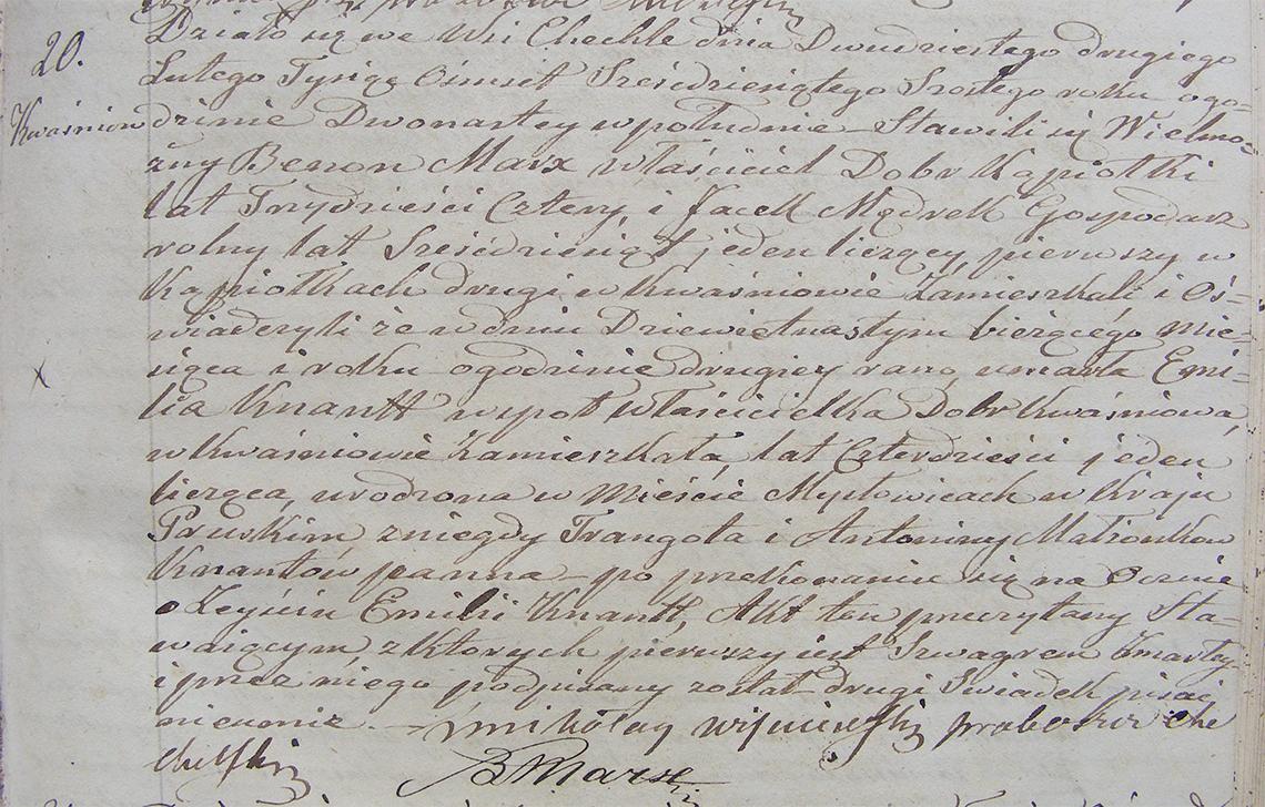 Akt stanu cywilnego zgonu Emilia Zofia Henryetta Knaut 19.02.1866 r. (Chechło).
