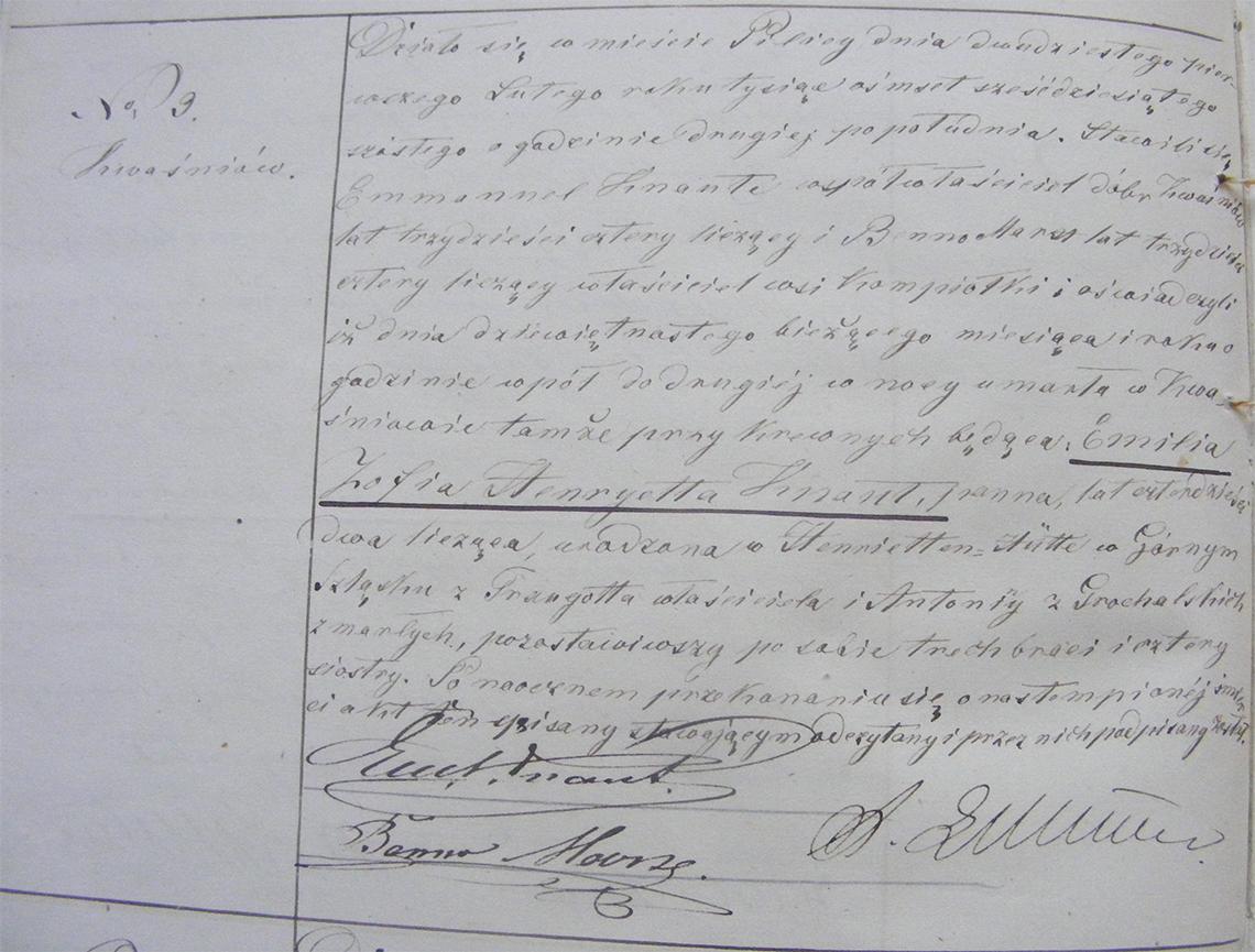 Akt stanu cywilnego zgonu Emilia Zofia Henryetta Knaut 19.02.1866 r. (Pilica).
