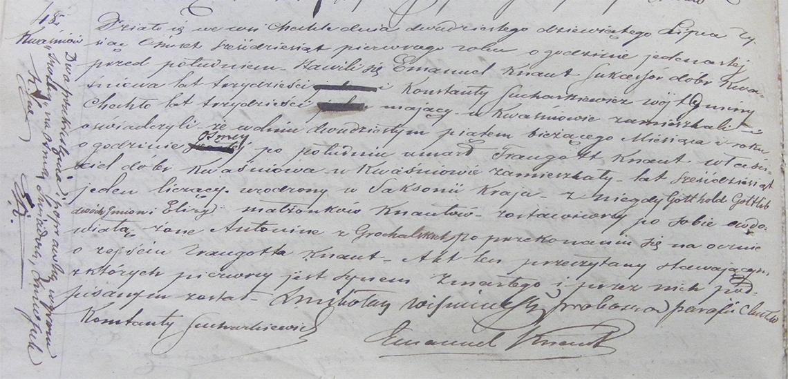 Akt stanu cywilnego zgonu Traugott Knaut 25.07.1861 r. (Chechło)