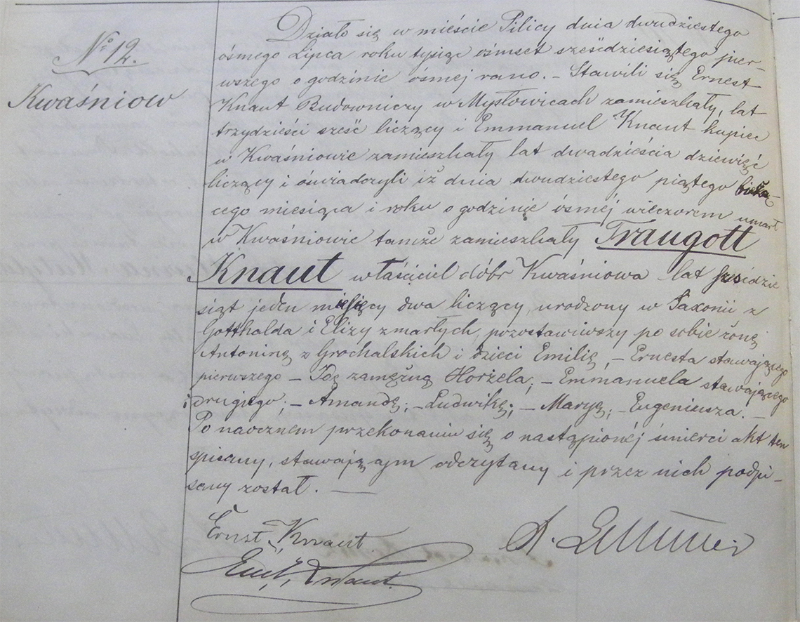Akt stanu cywilnego zgonu Traugott Knaut 25.07.1861 r. (Pilica)