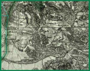 Mapa dekanatu będzińskiego (1876).