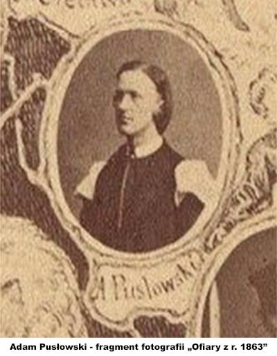 """Adam Pusłowski - fragment fotografii """"Ofiary z r. 1863"""" (Zakład Fotograficzny Władysława Rzewuskiego w Krakowie - 1868 r.)"""