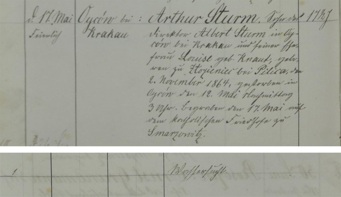 Akt metrykalny zgonu Arthur Sturm 12.05.1881 r.