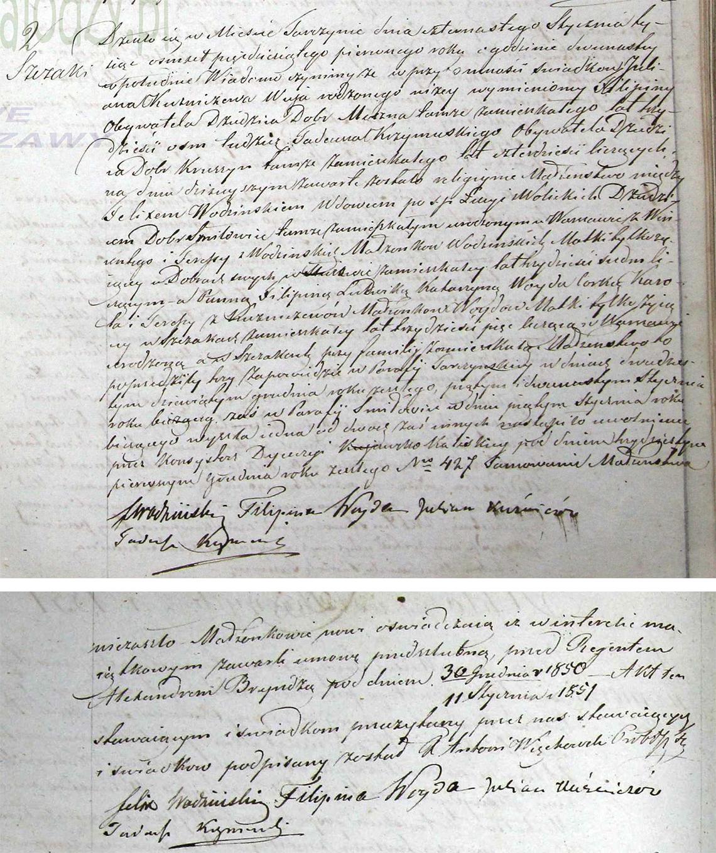 Akt stanu cywilnego małżeństwa Felix Wodziński & Filipina Ludwika Katarzyna Woyda 14.01.1851 r.