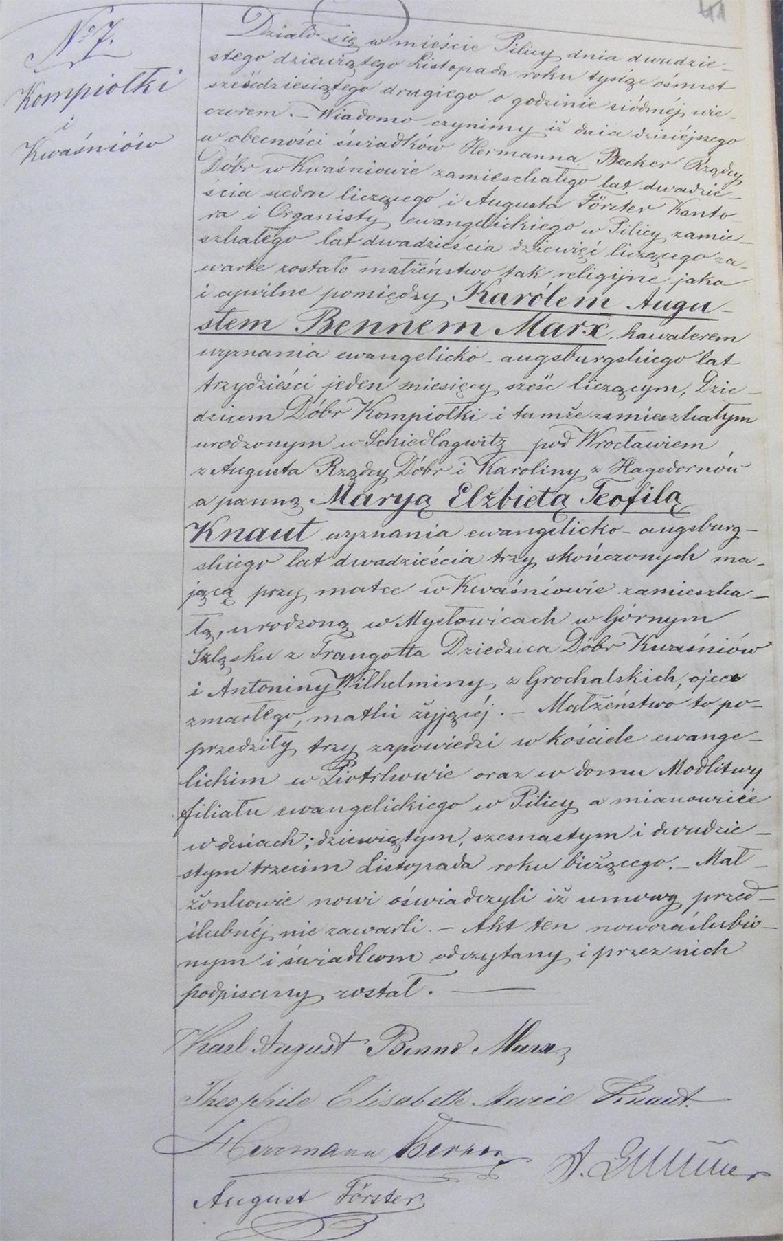 Akt stanu cywilnego małżeństwa Karol August Benno Marx & Marya Elżbieta Teofila Knaut 29.11.1862 r.