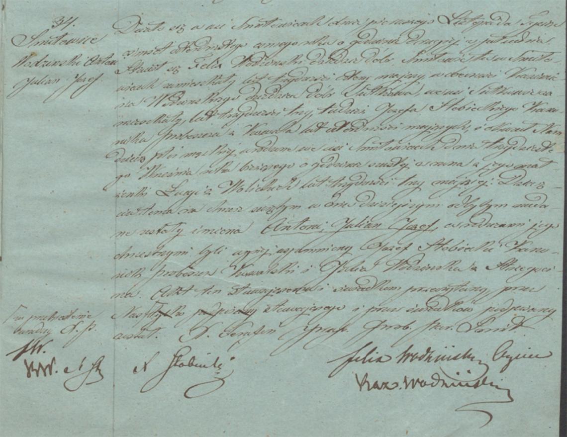 Akt stanu cywilnego urodzenia Antoni Julian Józef Wodziński 30.09.1848 r.