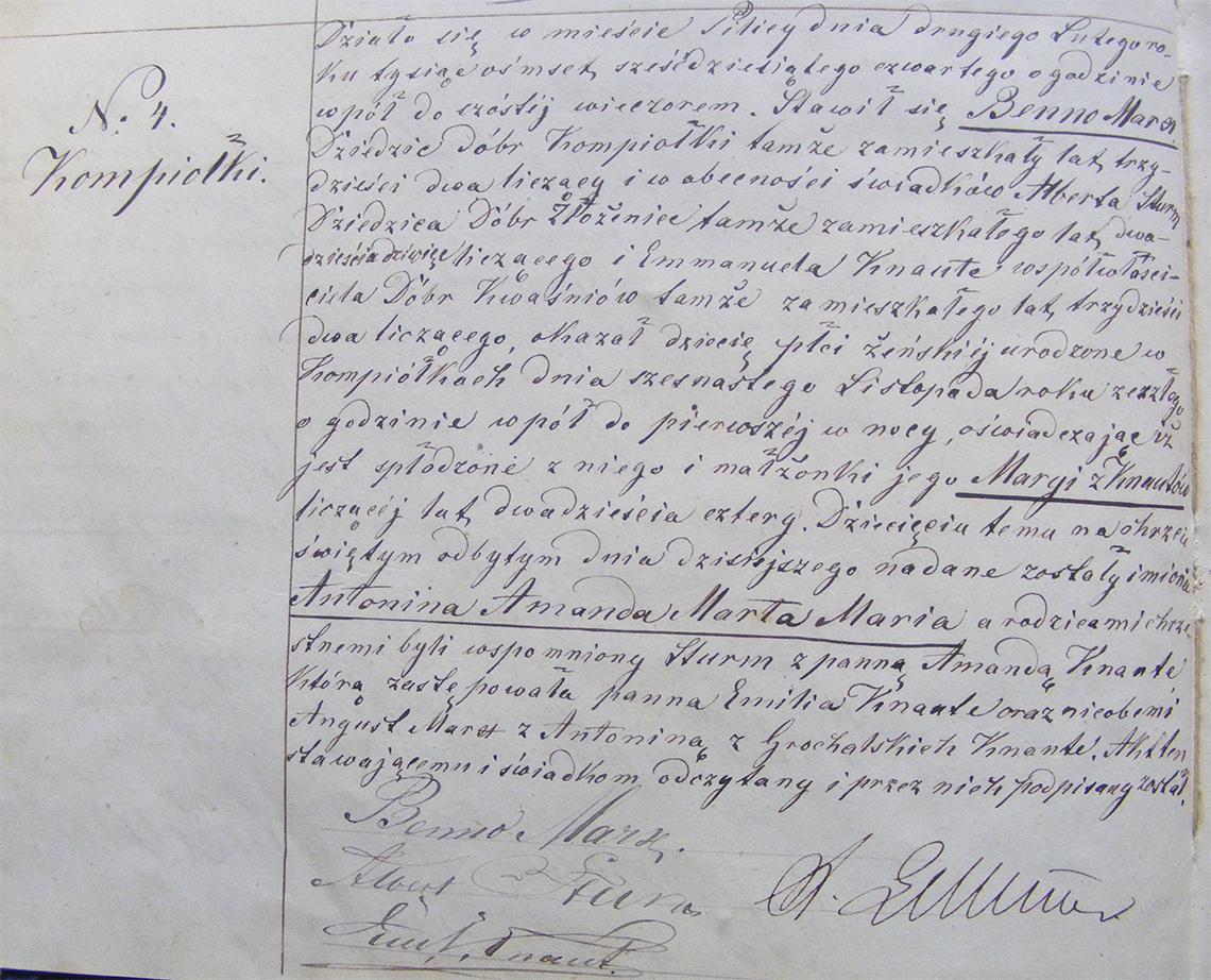 Akt stanu cywilnego urodzenia Antonina Amanda Marta Maria Marx 16.11.1863 r.