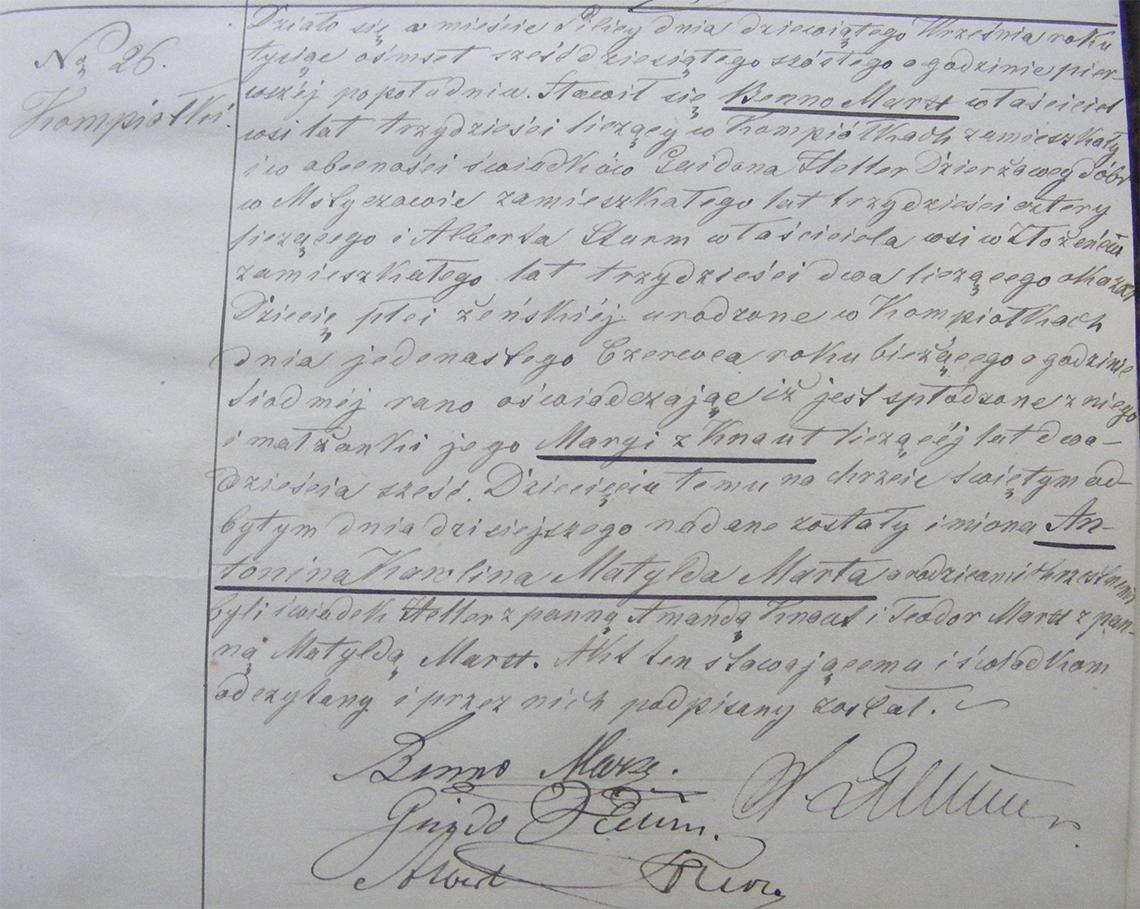 Akt stanu cywilnego urodzenia Antonina Karolina Matylda Marta Marx 11.06.1866 r.