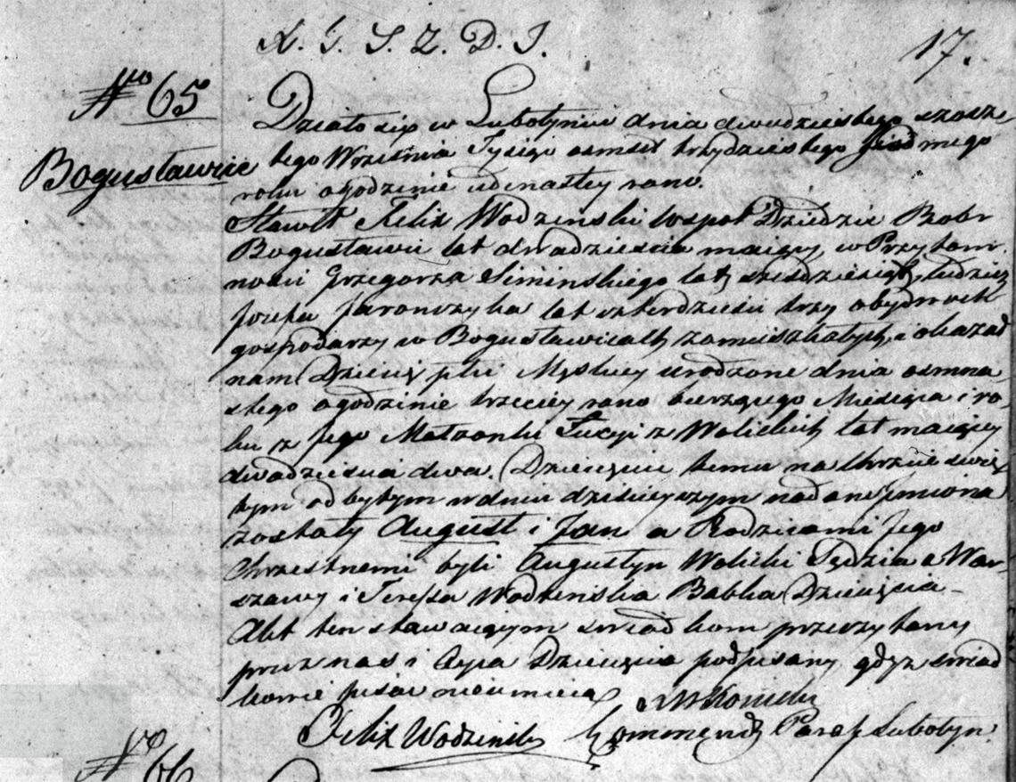 Akt stanu cywilnego urodzenia August Jan Wodziński 16.09.1837 r