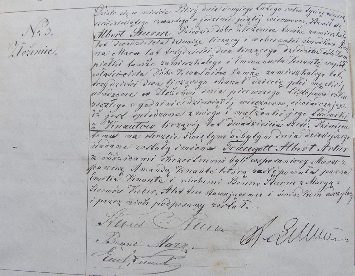 Akt stanu cywilnego urodzenia Traugott Albert Artur Sturm 01.11.1863 r.