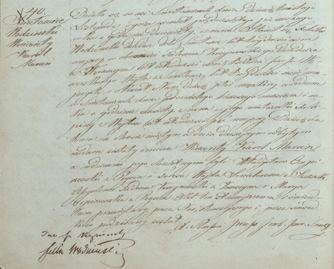 Akt stanu cywilnego urodzenia Wincenty Karol Marcin Wodziński 11.11.1851 r.