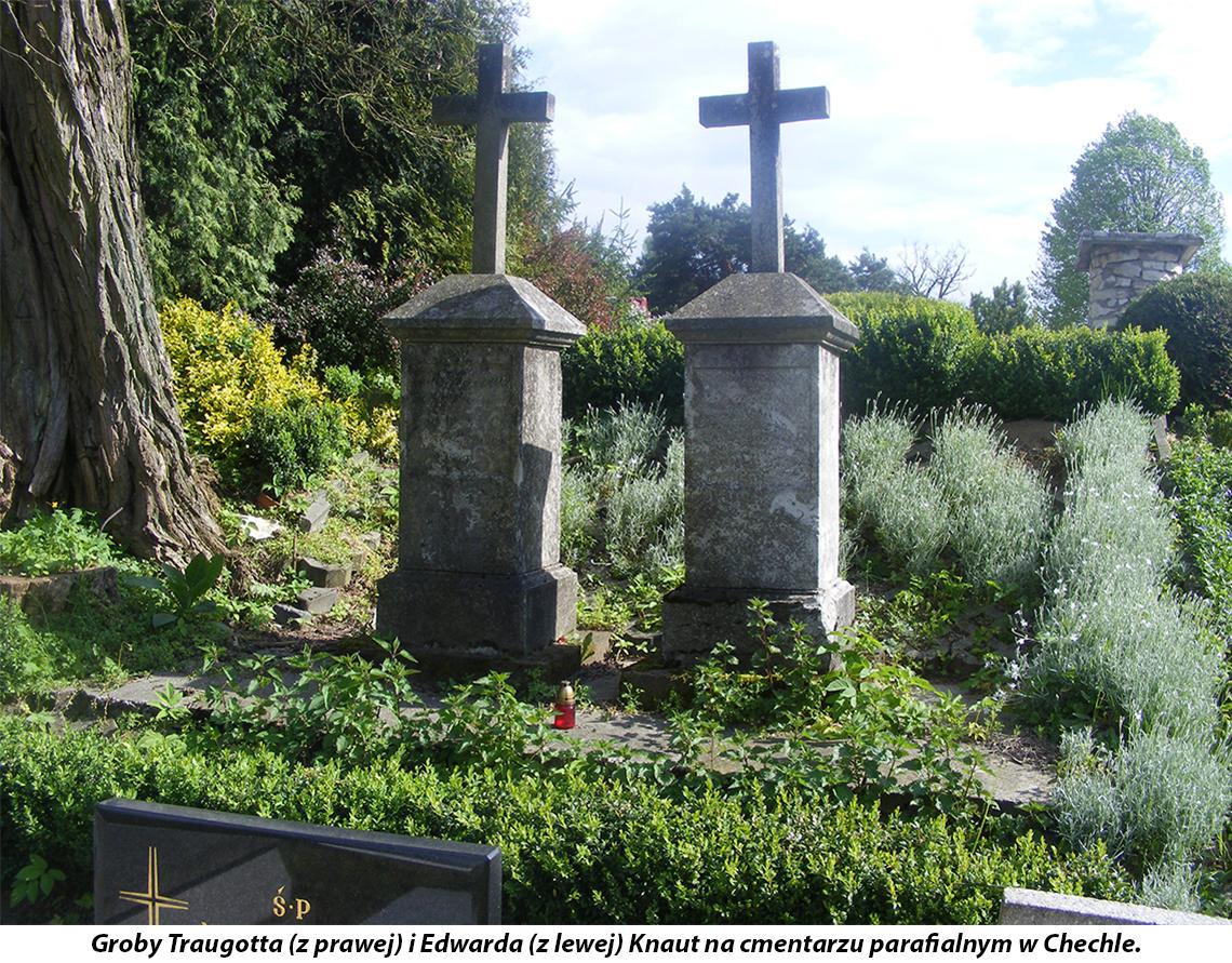Groby Traugotta (z prawej) i Edwarda (z lewej) Knaut na cmentarzu parafialnym w Chechle.