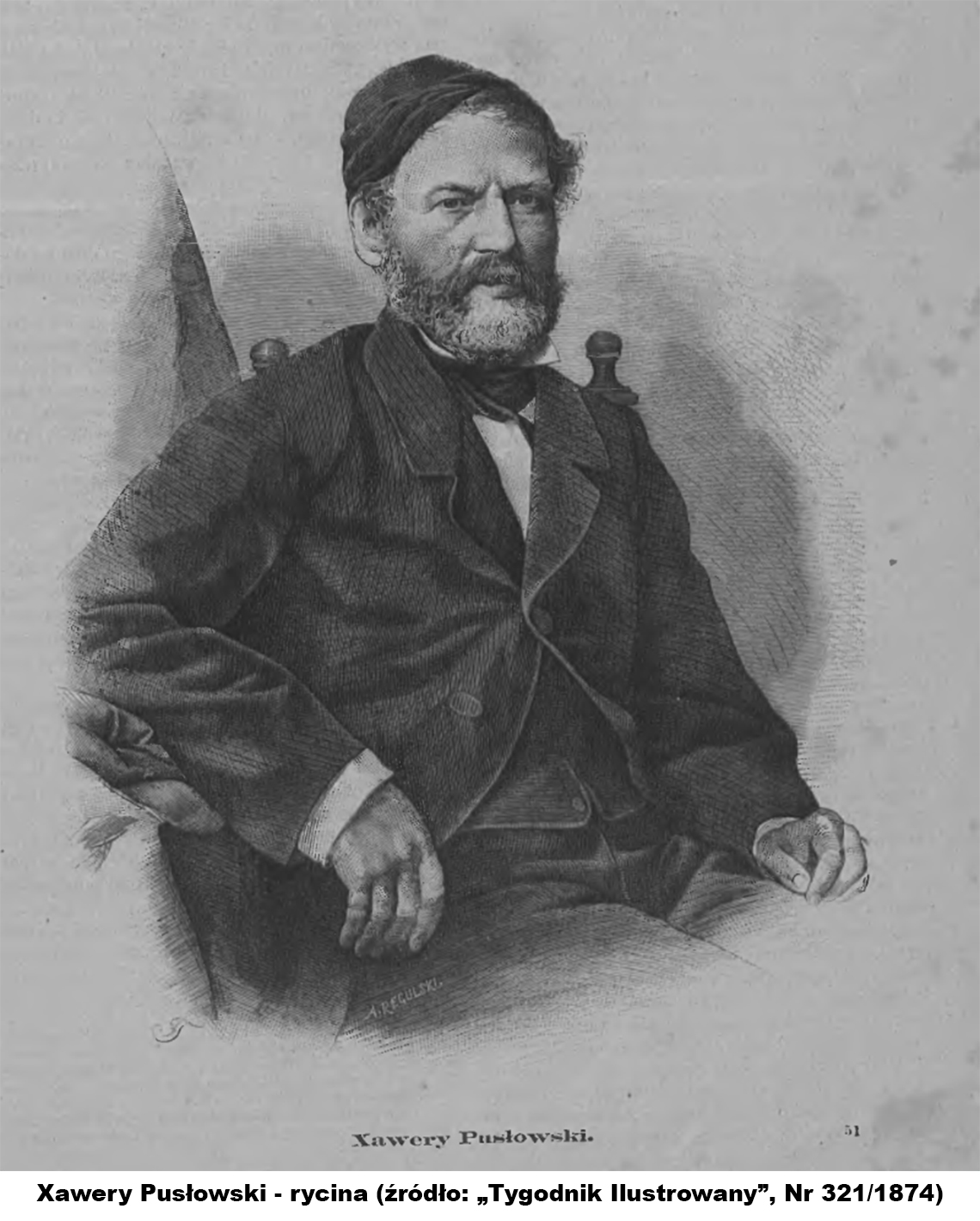 """Xawery Pusłowski - rycina (źródło """"Tygodnik Ilustrowany"""" Nr 321/1874)"""