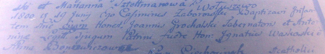 Akt metrykalny chrztu Ewa Grochalska z dn. 19.06.1800 r.