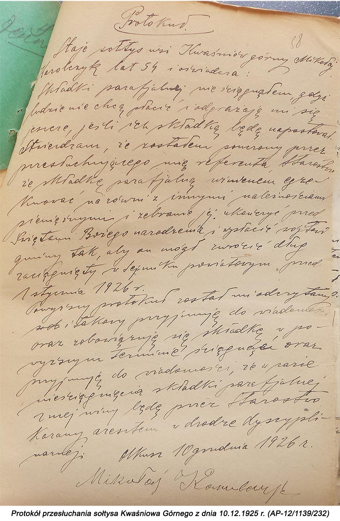 Protokół przesłuchania sołtysa Kwaśniowa Górnego z dnia 10.12.1925 r. (AP-12/1139/232)