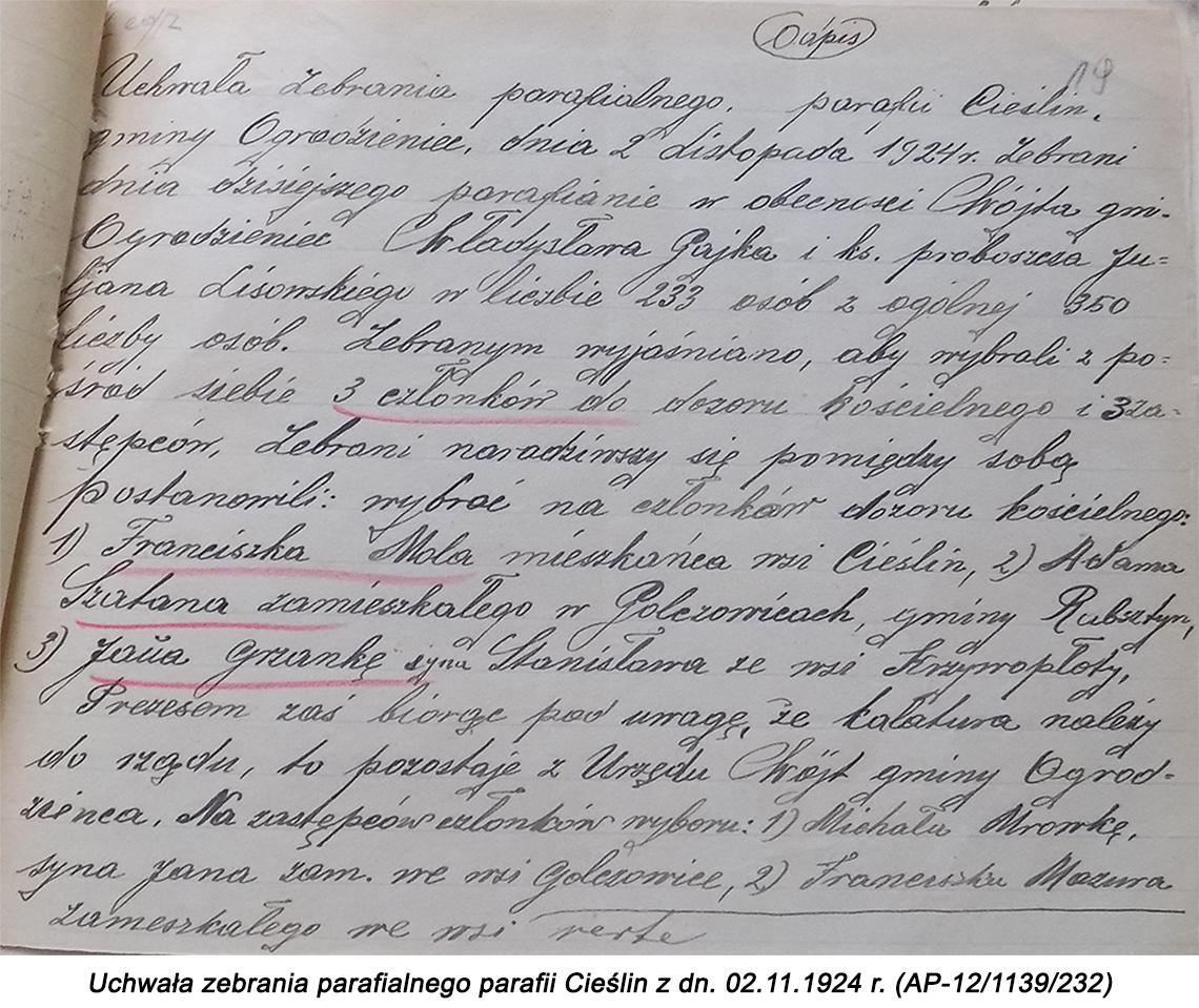 Uchwała zebrania parafialnego parafii Cieślin z dn. 02.11.1924 r. (AP-12/1139/232)