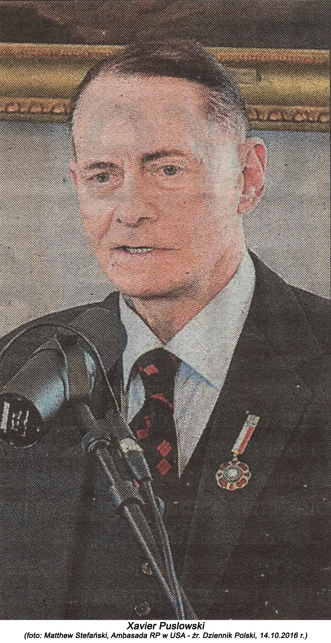 Xavier Puslowski (foto Matthew Stefański Ambasada RP w USA, źr. Dziennik Polski 14.10.2016 r.)