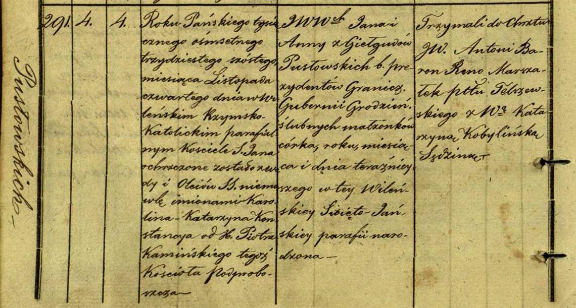 Akt metrykalny chrztu Karolina Katarzyna Konstancya Pusłowski ur. 04.11.1836 r.